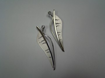 Platinum Leaf Earrings with Bezel Set Diamonds